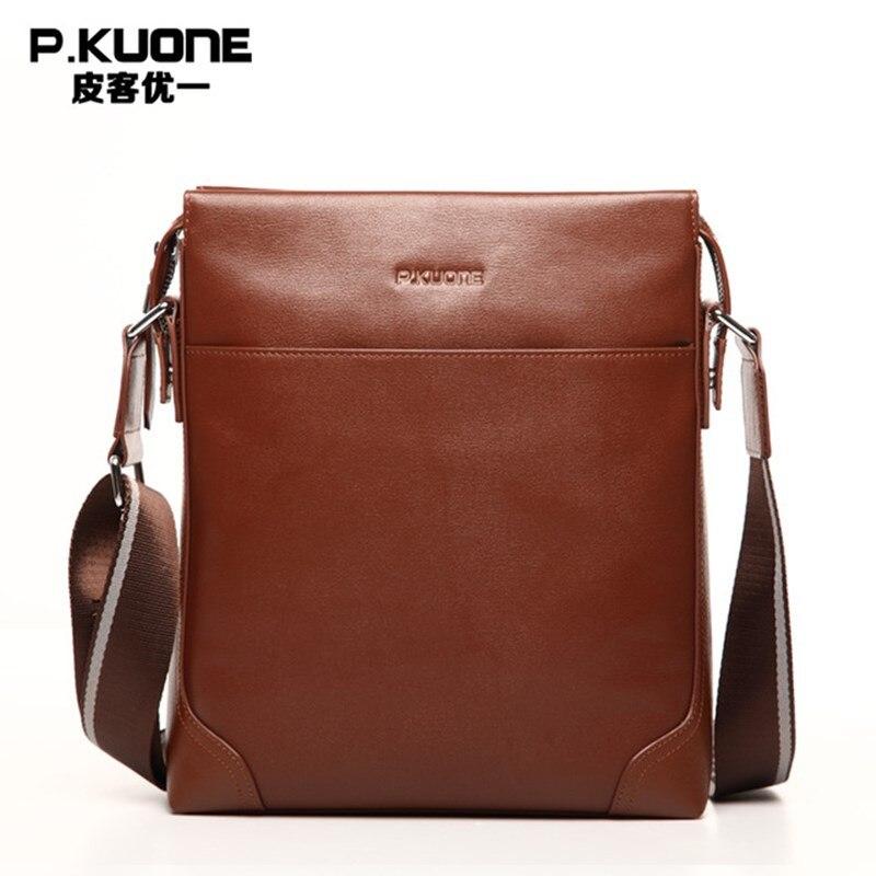 P.KUONE 2018 100% Genuine Leather Business Casual Travel Messenger Shoulder Handbag New Fashion Men Famous Brand Crossbody Bag