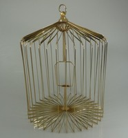 Gold Steel Appearing Bird Cage Medium size,16 inch (dove appearing cage), magic tricks,illusions,card tricks novelties