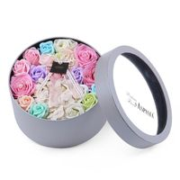 Handmade Dried Flowers Rose Soap Flower Round Gift Box Flower Birthday Gift Home Garden Festive Party Supplies