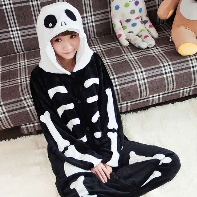 de51385e59 Winter Skull Cosplay For Couples Pajamas Black Onesies Warm Flannel Pajamas  Sets For Adult Unisex Nightwear Mens Women Sleepwear