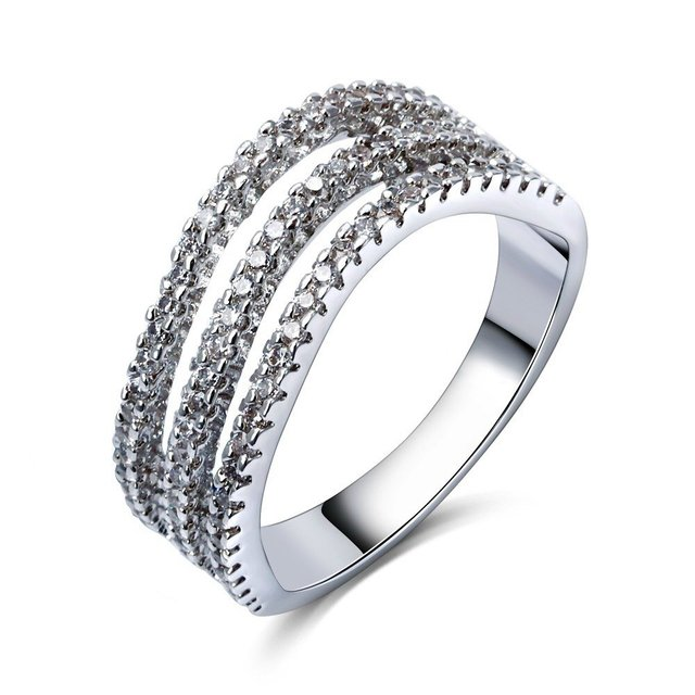 New arrival Wedding anniversary gift mermaid prom Platinum plated AAA Synthetic Cubic zirconia Ladies luxury rings