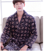 Pajamas Bathrobe Nightgown And Thick Flannel Long Sleeved Autumn Winter Men Design 2017 New Design