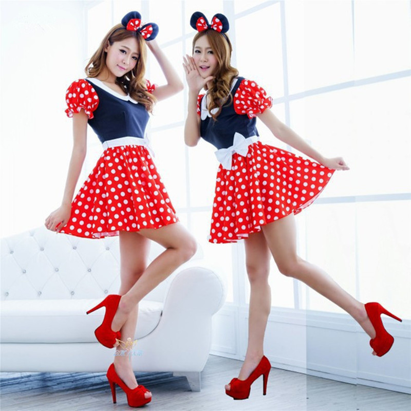 Halloween Women/'s Mickey Mouse Fancy Dress Minnie Cospaly Outfit Party Hot Red