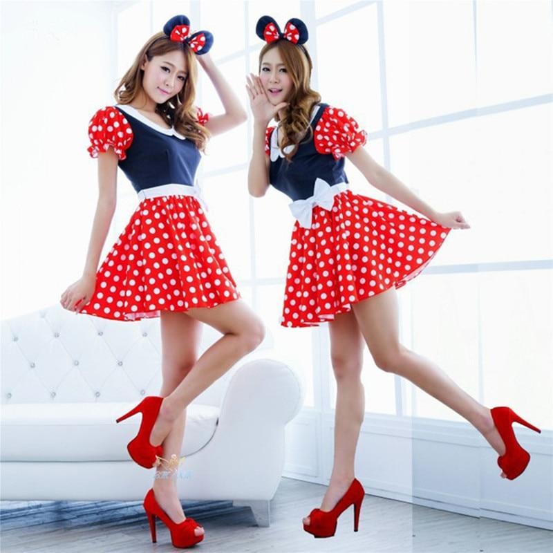 Felnőtt nők szexi vörös fehér pöttyös édes minnie egér díszes ruha Halloween Cosplay jelmez O-nyak mini ruha fejpánt