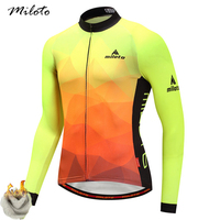 Miloto Winter Fleece Long Sleeve Cycling Jersey 2018 Pro Team Mens Racing Sport Bicycle Cycling Clothing Thermal MTB Bike Jersey