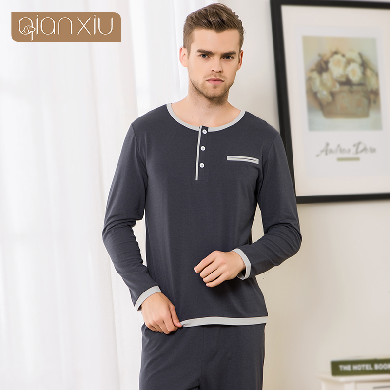 2017 Spring and Autumn New Men s Casual Men Lounge Wear Elastic Waist O Neck Long