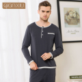2017 Spring and Autumn New Men's Casual Men Plus Size Lounge Wear Elastic Waist O-Neck Long Sleeve Pajama Set 1693D