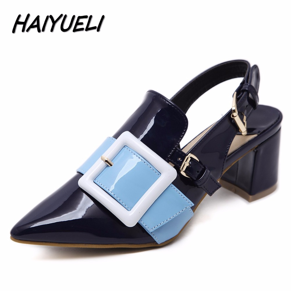 HAIYUELI New Star Sexy Women Med Heels Sandal Shoes Woman Square Heels Buckle Thick Heels Pointed Toe Slingback Shoes Size 35-40
