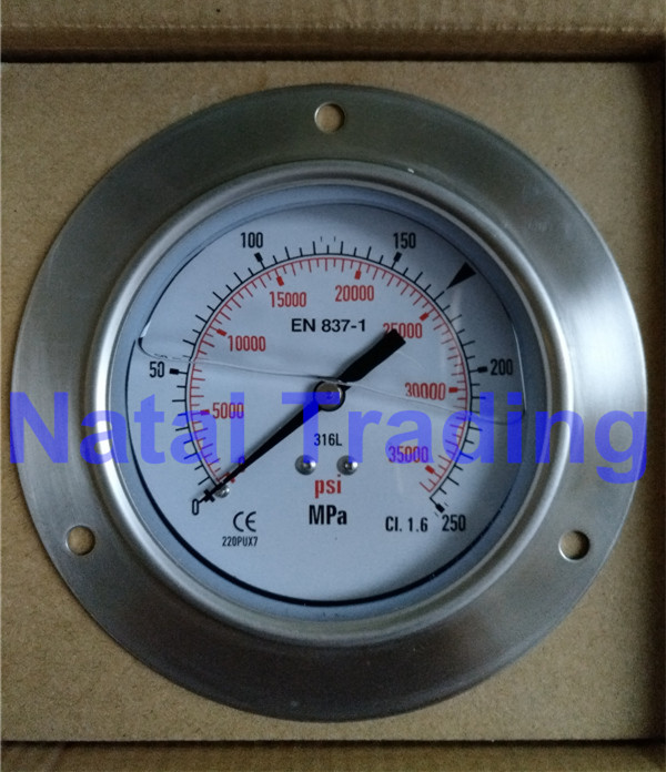 Free Shipping! 250Mpa M20X1.5 filling silicone oil High Pressure Gauge 35000psi high pressure fuel system hydraulic gauge