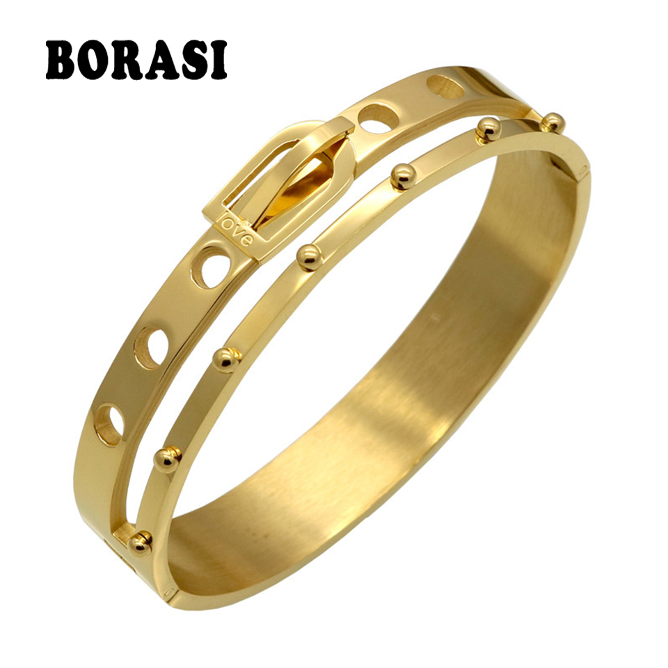 BORASI Jewelry Belt Buckle Wide Cuff Bracelet Noeud Armband Love Gold Color Bracelet For Women Bracelets Manchette Bangles