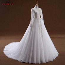QUEEN BRIDAL Custom Size A-line Long Sleeve Wedding Dresses