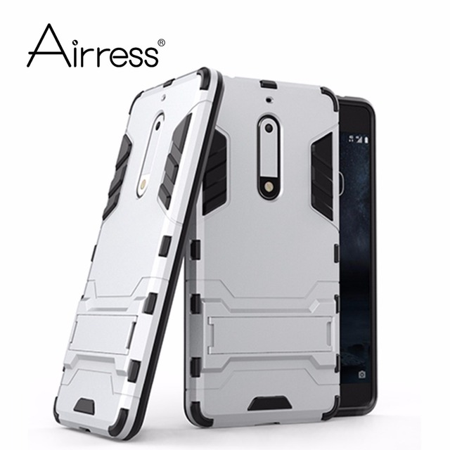 Airress Hard & Soft Hybrid Defender Kickstand Cover Protective Phone case for Nokia 5