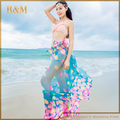 2016 Arrival Summer Beach Cover up Large Pareos Chiffon Wrap Shawl Beach Sarongs For Women Silk Scarf Sunscreen Clothing