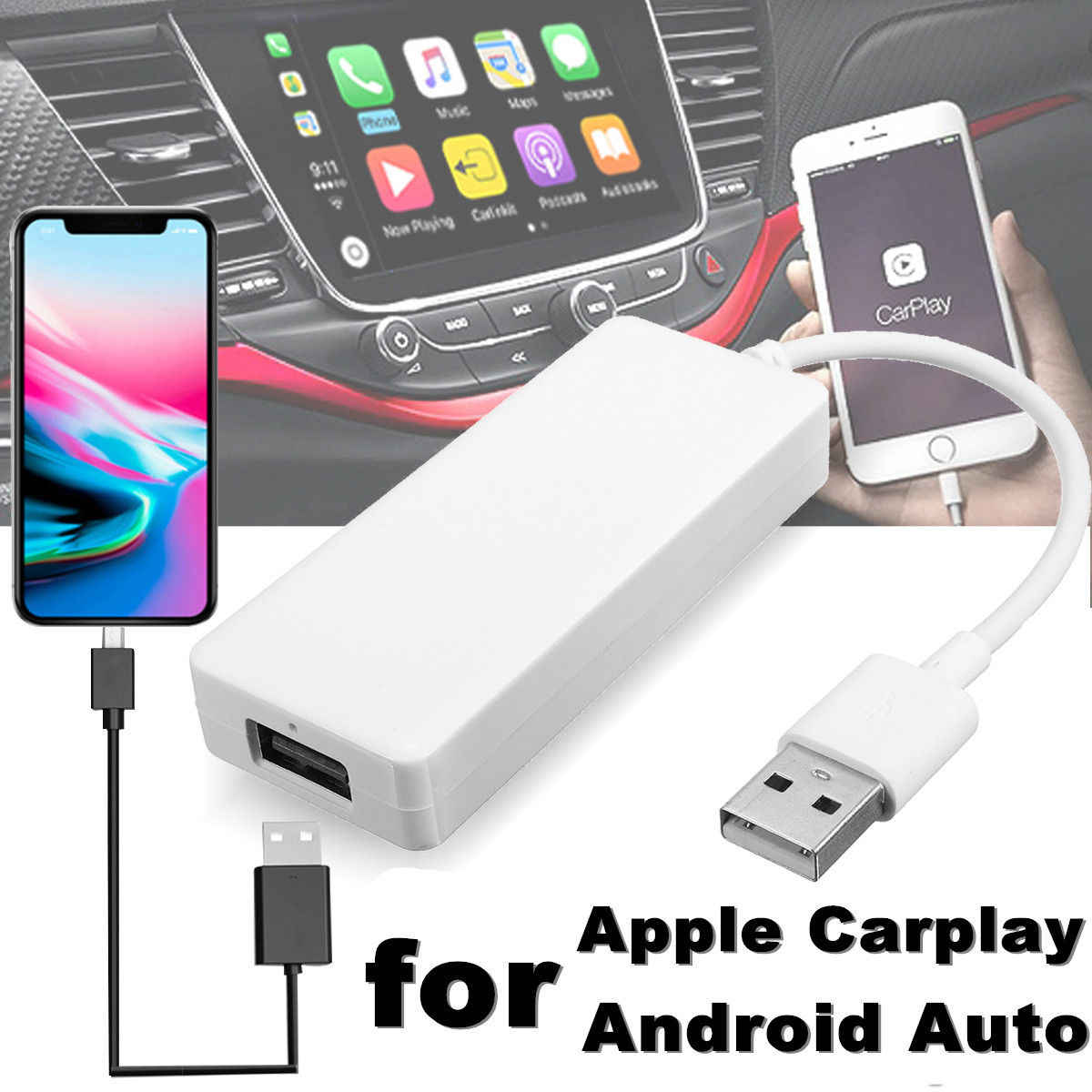 Car Link Dongle USB Portable Link Dongle Navigation Player Auto Link Dongle Smart Android Auto for Apple CarPlay
