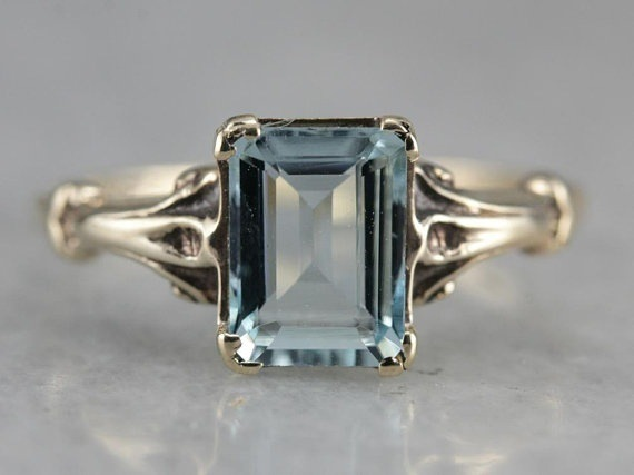 Promotion Sale Female Vintage Jewelry  Blue Stone Silver Finger Ring Engagment Party Gifts