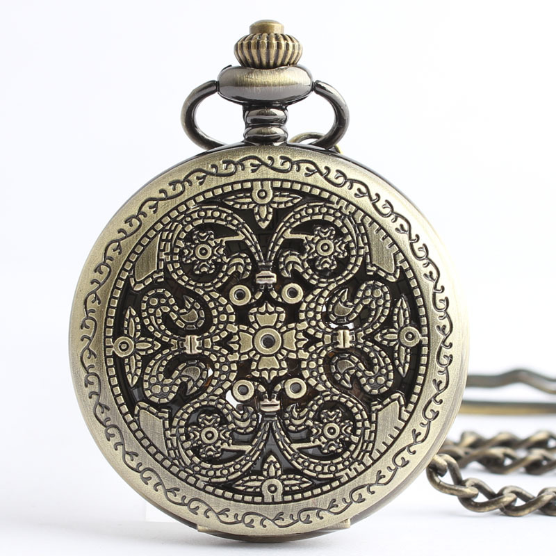 Retro palace carved hollow mechanical pocket watch Roman bronze mechanical pocket watch men and ladies watches