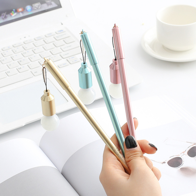 Cute Multifunctional Light Bulb Dust Plug Gel Pen Creative Plastic Neutral Pen Korean Stationery For Kids Gift Office School Pen Promoting Health And Curing Diseases