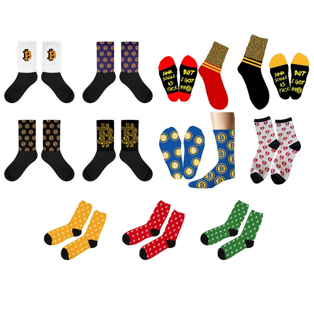 1 paire drôle Bitcoin imprimé sport chaussettes coton mélange chaussettes pour femmes hommes tenue de sport