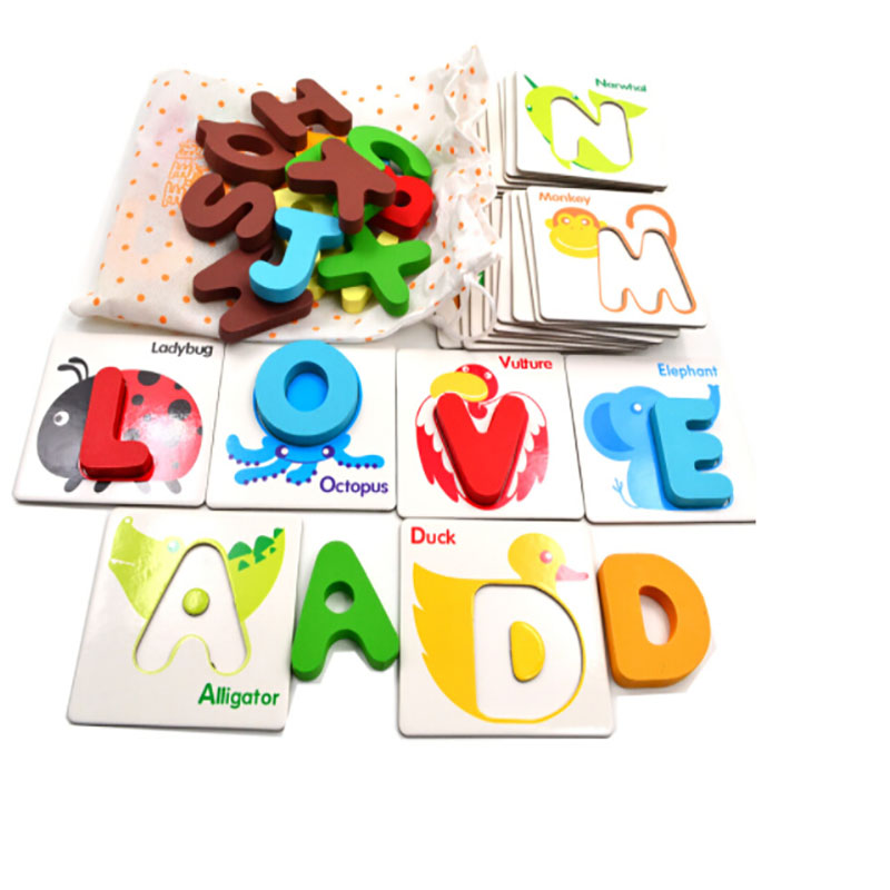 26 Teile/satz Neue Holz Frühen Bildung Baby Vorschule Englisch Lernen Abc Alphabet Brief Karten Kognitiven Spielzeug Tier Puzzle Rätsel & Spiele