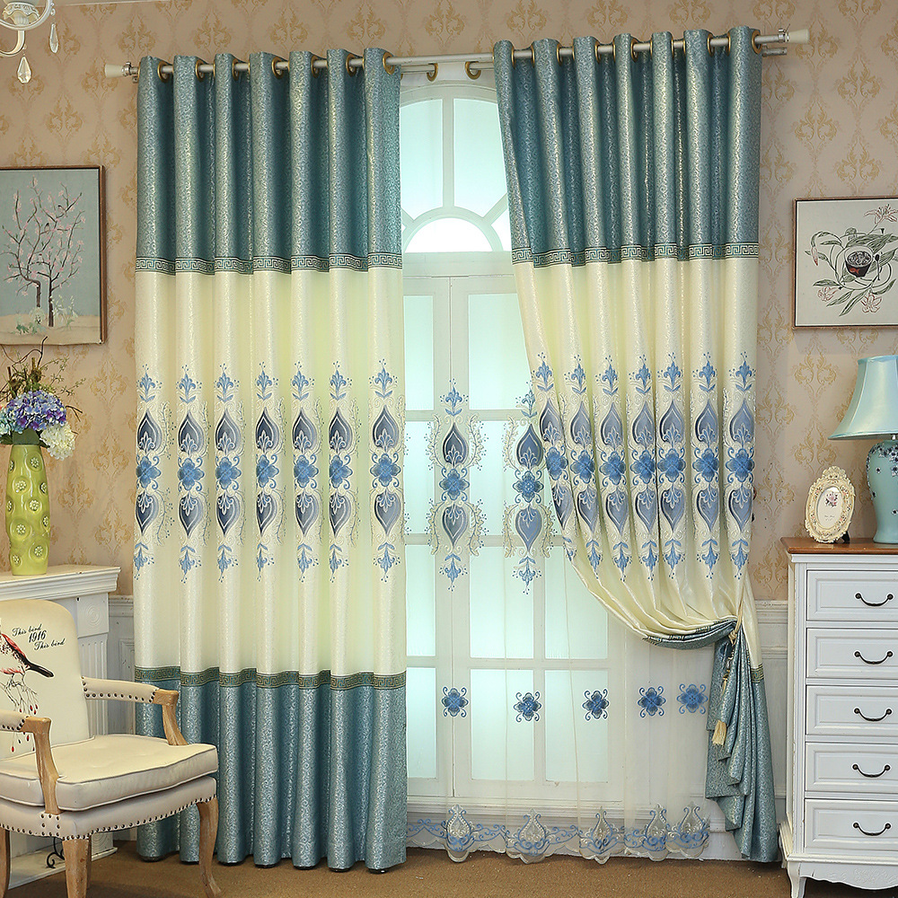 Curtain Cloth European Curtains For Living Dining Room Bedroom Shading Fabric Embroidery Curtain Finished Product