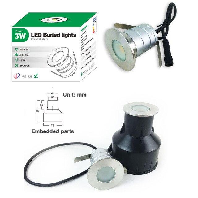 IP67 12V 24V 3W COB Waterproof Mini LED Underground Light Buried Lamp Garden Ground Light Recessed