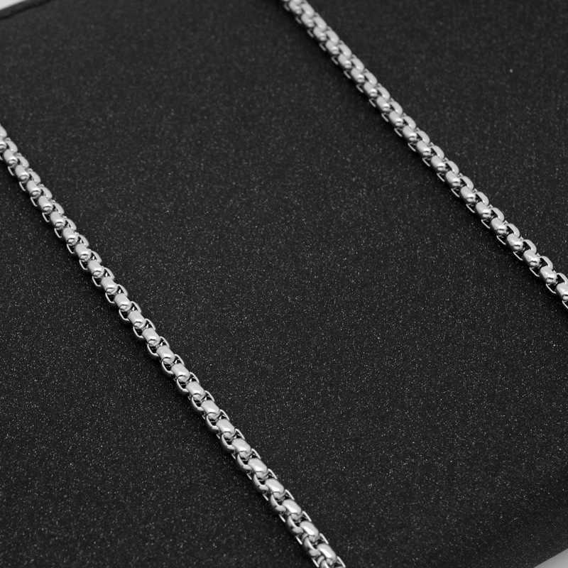 Aço Inoxidável Colar de Corrente de prata para Os Homens Simples 3.5 MILÍMETROS Cadeia de Caixa de Colar Do Punk Hiphop Jóias Longo Gargantilha Colar Acessório