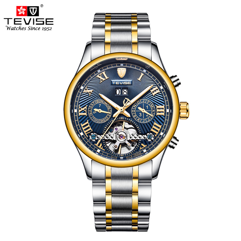 TEVISE Automatic Mechanical Watches Men Self Wind Auto Date Day Month Stainless Steel Tourbillon Wristwatches with  tool TVS48 tevise mechanical automatic self wind men watch stainless steel auto date day man business fashion wristwatches clock 619