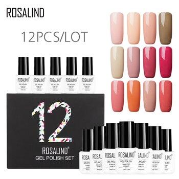 12PCS/LOT ROSALIND Gel Nail Polish Pure Colors Series Nail Gel Need Base Top Coat  Cured Fast UV Nail ArtGel Varnishes 1
