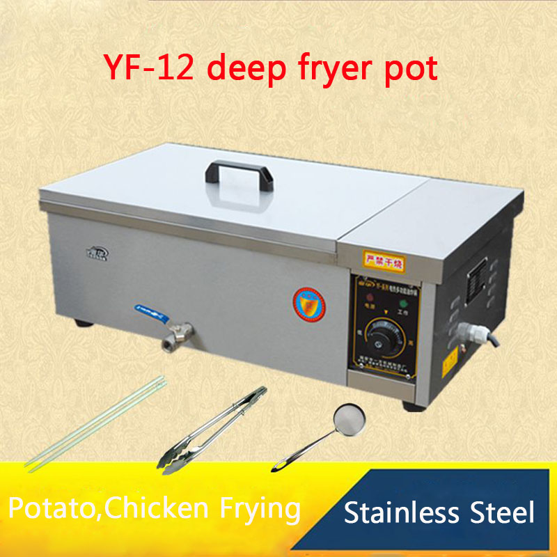 YF-12 Multi-function deep fryer pot,Commercial Household Fried furnace For Potato,Chicken,dough sticks Frying Machine 5l stainless steel spanish churro maker fried dough sticks machine with 6l electric fryer commercial churros machine