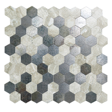 4 Pieces DIY Nordic Hexagon Alloy Peel and Stick Wall Tiles Fireproof Metal Kitchen Stickers 12 Inch Black 3D Art