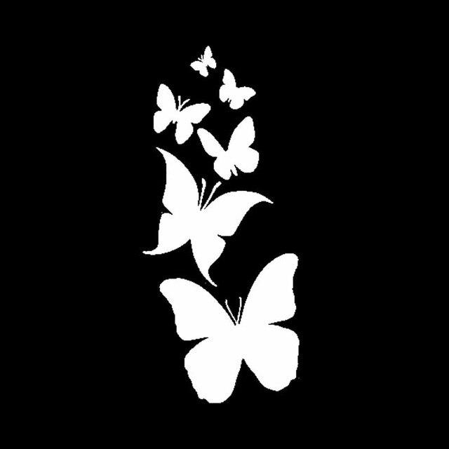 YJZT 6CM * 13.7CM décalcomanie vinyle papillon Hibiscus fleur voiture autocollant noir/argent C24-0029
