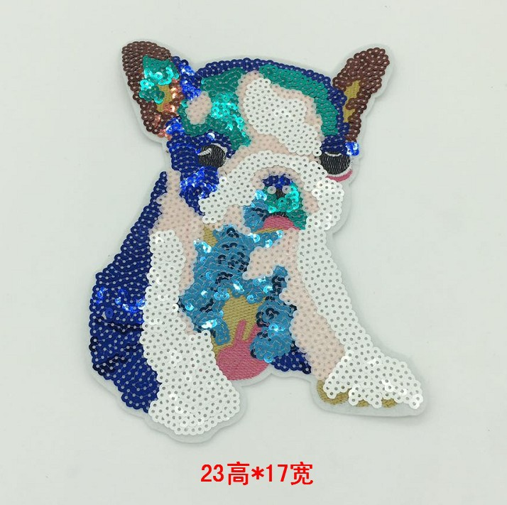 Small Cute Beads Embroidery Dog Cartoon Animal Cloth Clothing DIY Patch Decoration Accessories