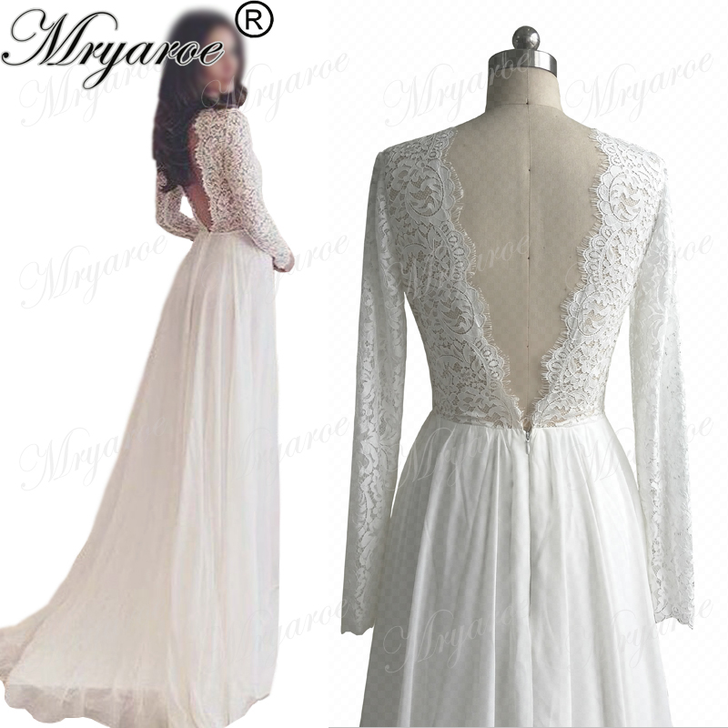 Mryarce Classic Lace Long Sleeve Open Back Wedding Dresses