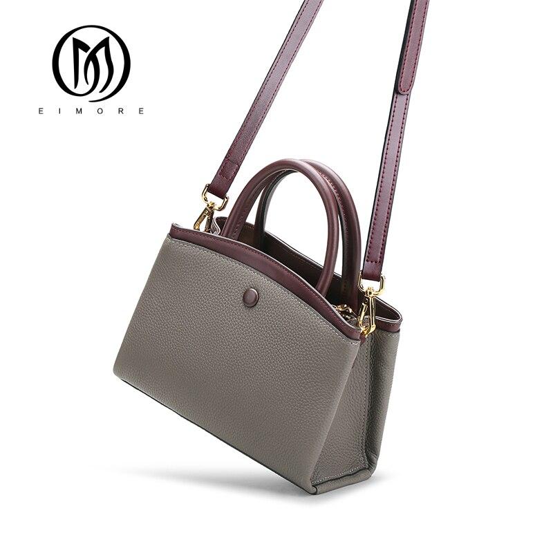 EIMORE de cuero genuino para mujer bolsos de lujo Bolsos De Mujer bolsos de diseñador con paneles bolsos de moda mujer Casual bolso de mano-in Bolsos de hombro from Maletas y bolsas    1
