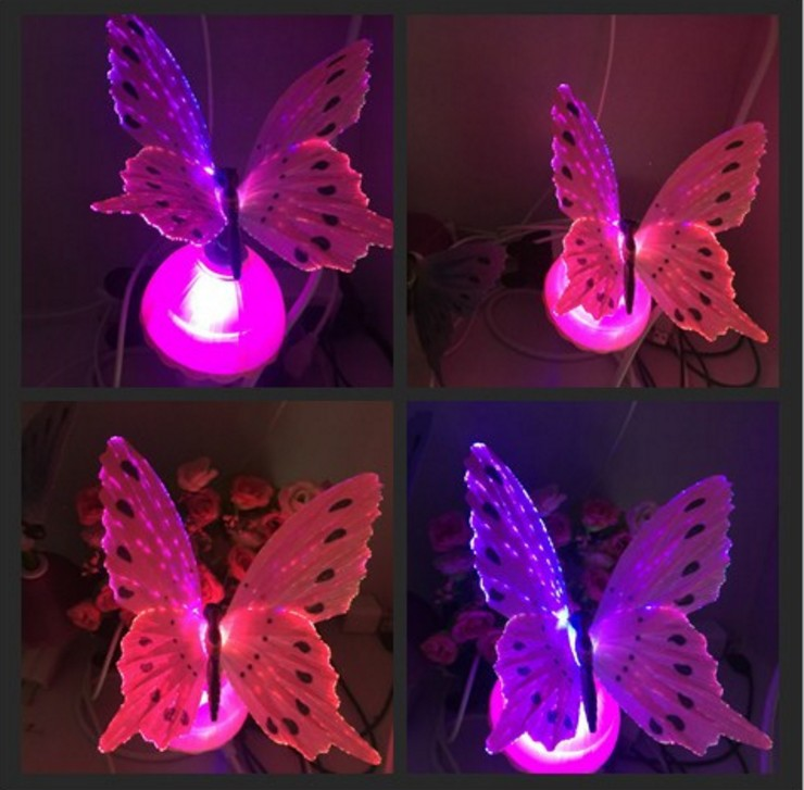 3Pcs US Standard 110V Colorful Christmas Butterfly Valley LED Night Light for Bed Room, Corridor, Hotel Room Purple, Blue, Pink ...