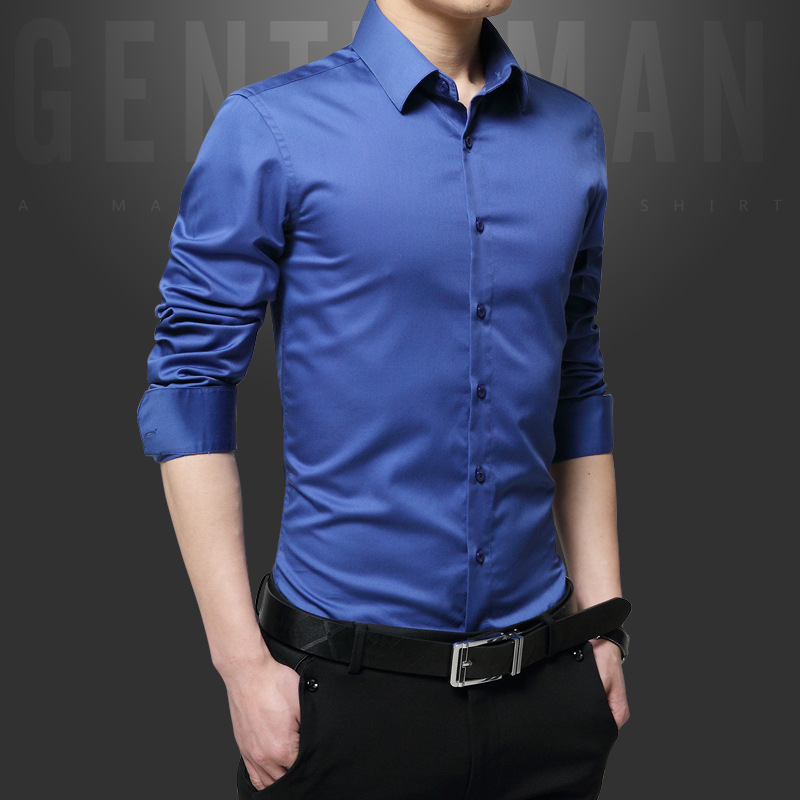 Men Clothes 2017 Spring Autumn Men Long Sleeve Casual Shirt Mercerized Cotton Shirt Plus Size 5XL Male Wedding Mens Dress Shirts