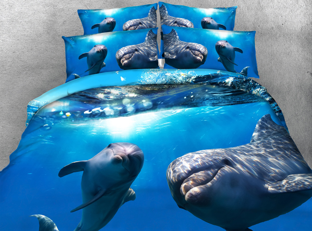 3pcs all kinds Dolphins print bedding sets deep ocean blue