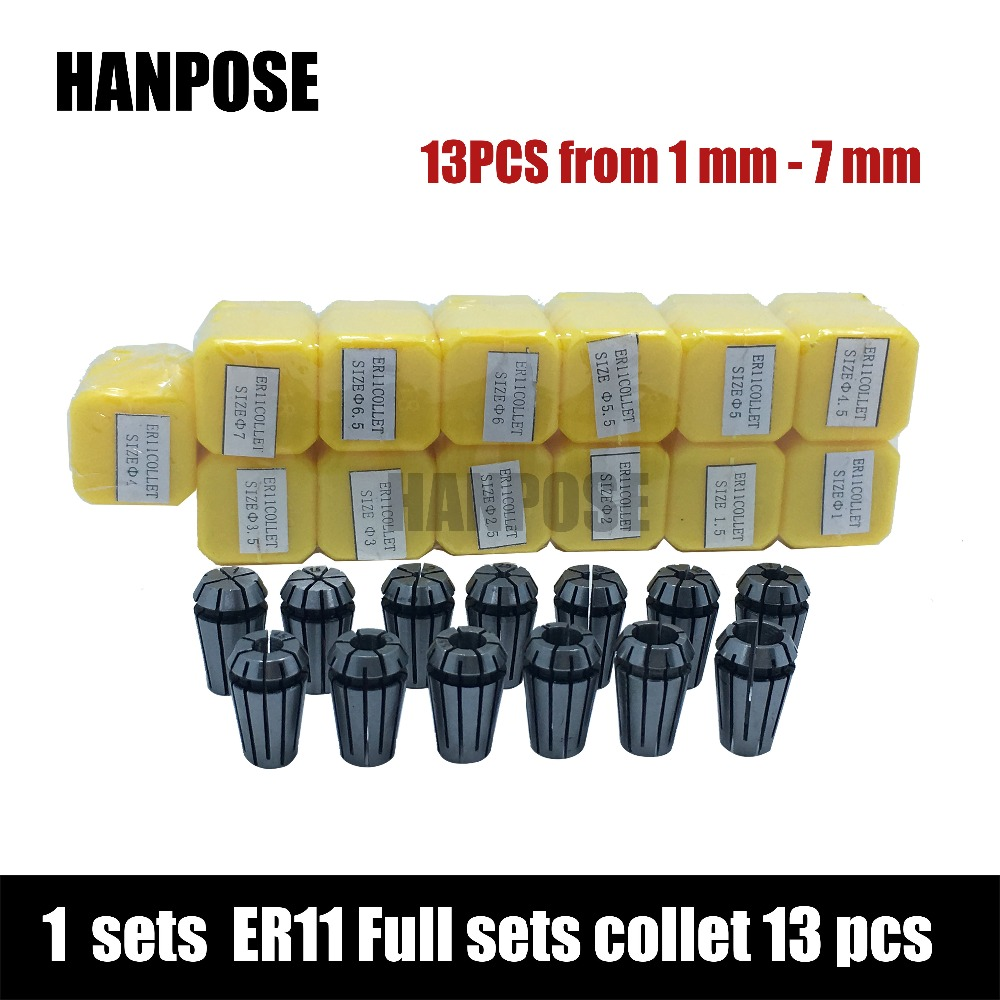 free shipping top standard quality er11 collet set 13 pcs from 1 mm to 7 mm for cnc milling. Black Bedroom Furniture Sets. Home Design Ideas