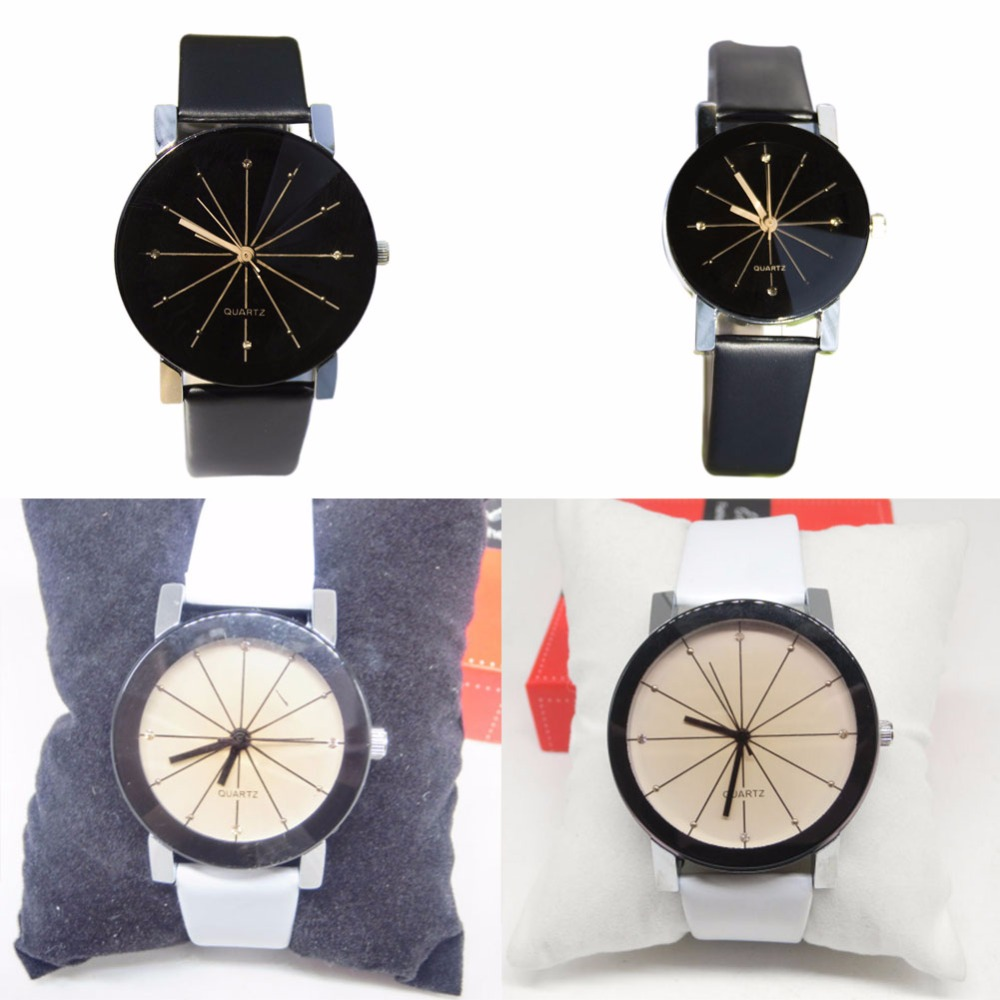 1 Piece Black/White Men/Womens Simple Casual Style PU Leather Watchband Round Dial Couples Watch Quartz Wrist Watch HB88