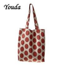 Youda Korean Wave Point Slanting Canvas Bags Ladies Fashion Shopping Handbags Literary Style Dot Shoulder Bag Classic Tote