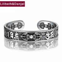 925 Thai Pulseira de Prata Esterlina Homens Jóias Buddha Mantra Instrumentos Bracelet Bangle Mulheres Presente Fine Jewelry Tailândia B6