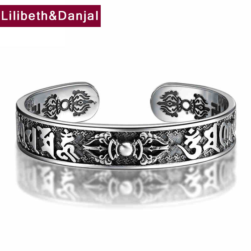 HONGCLUB 2017 Thai 925 Sterling Silver Bangle Men Jewelry Buddha Mantra Instruments Bracelet Bangle Women Gift Fine Jewelry B6 bangle