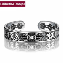 HONGCLUB 2017 Thai 925 Sterling Silver Bangle Men Jewelry Buddha Mantra Instruments Bracelet Bangle Women Gift Fine Jewelry B6 цена