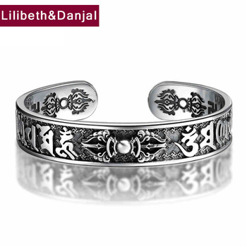 925 Sterling Thai Silver Bangle Men Jewelry Buddha Mantra Instruments Bracelet Bangle Women Gift Fine Jewelry Thailand B6