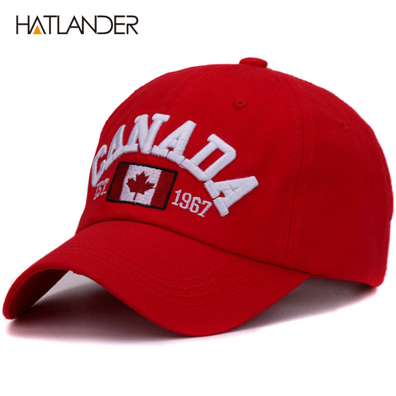 d5bc7cbf828 Hatlander brand Canada letter embroidery baseball caps cotton gorra snapback  curved dad hat leisure outdoor women