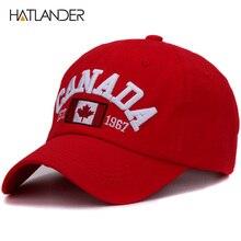 Hatlander marca Canadá carta bordado gorras de béisbol de algodón gorra snapback curva sombrero de papá de ocio al aire libre de los hombres de las mujeres deportes tapa
