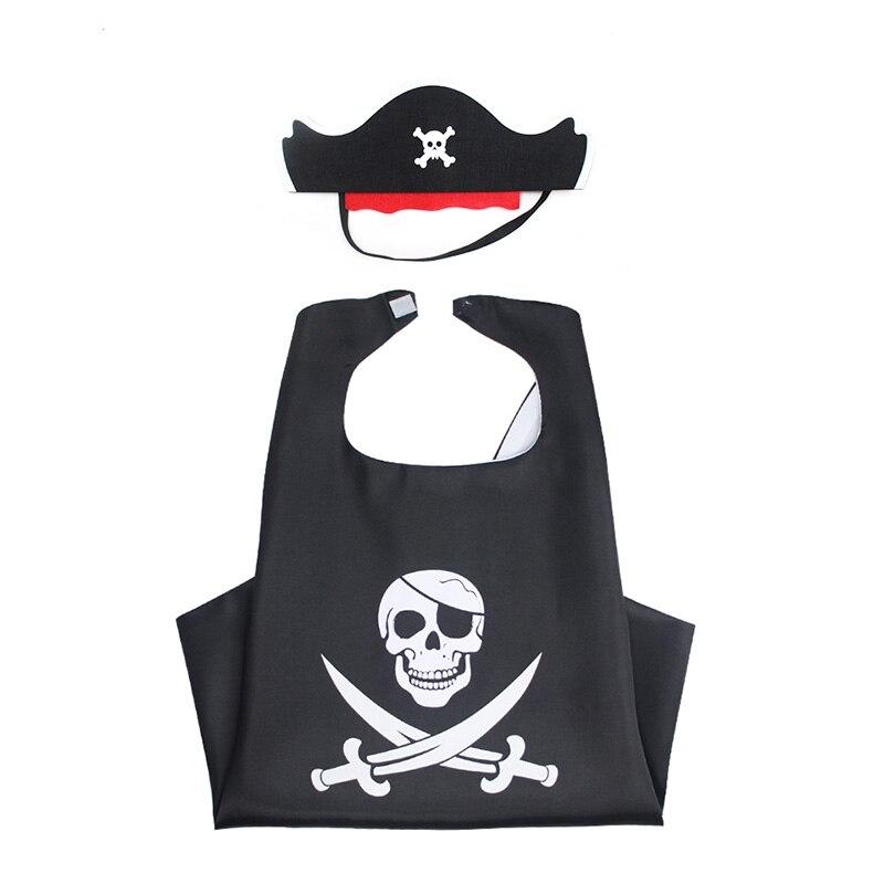 Children Unisex Halloween Robe Mask Costume Baby Boys Girls Black Pirate Skeleton Cloak Fancy Cosplay Party Gift For Kids 3-10T