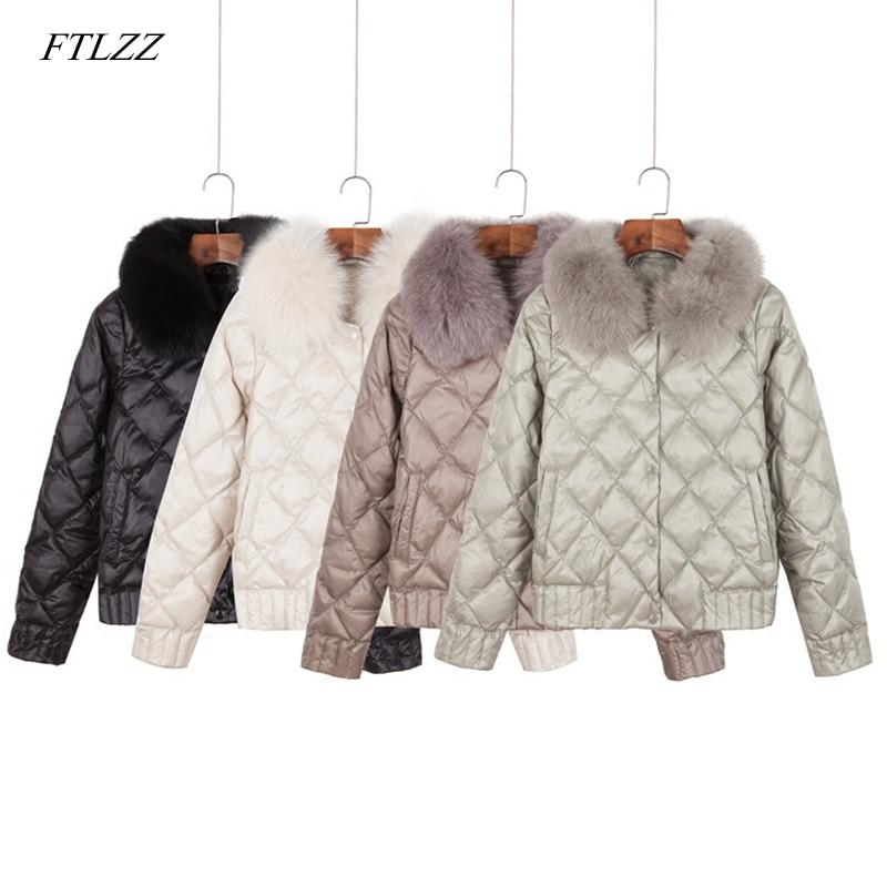 FTLZZ Women Down Real Fur Collar Jacket Winter Warm Ultra Light Short Jacket White Duck Down Parka Elegant Coat Outwear