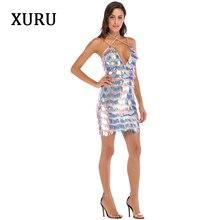 XURU  new autumn sequin dress elegant sexy strap tassel luxury nightclub queen Slim club party