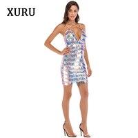 XURU new autumn sequin dress elegant sexy strap tassel luxury nightclub queen dress Slim sexy club party dress